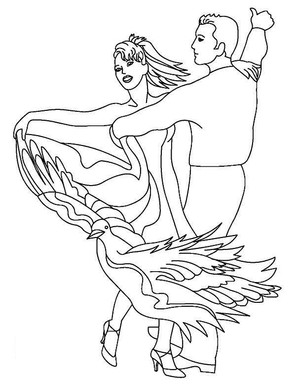 Dance, : Awesome Dance Performance Coloring Page