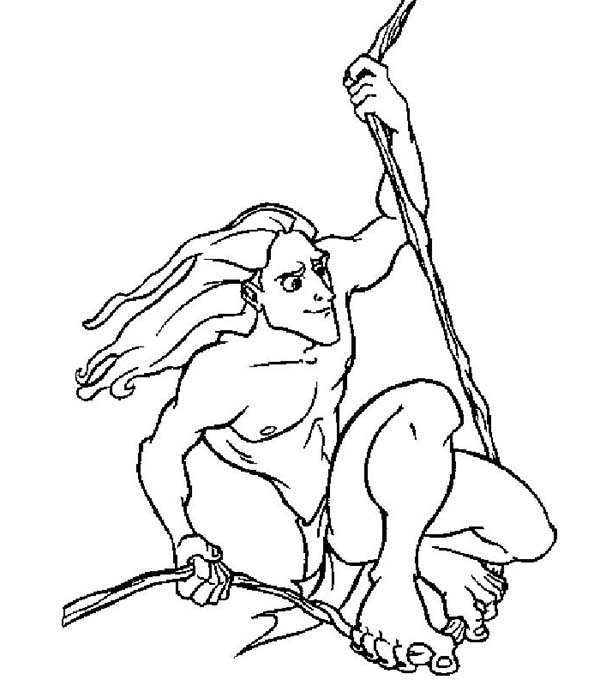 Tarzan, : Awesome Disney Tarzan Hanging with a Rope Coloring Page