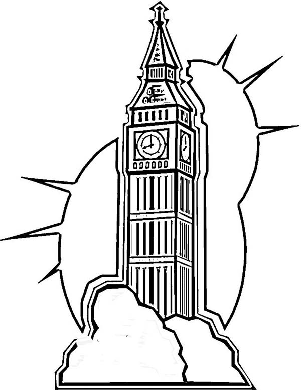 Big Ben, : Awesome Drawing of Big Ben Coloring Page