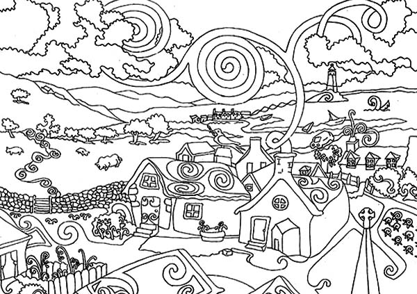 City, : Awesome Drawing of City Coloring Page
