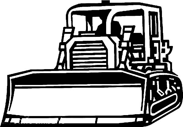 Bulldozer, : Awesome Picture of Bulldozer Coloring Page