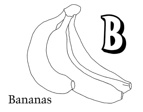 Banana, : B is for Banana Coloring Page