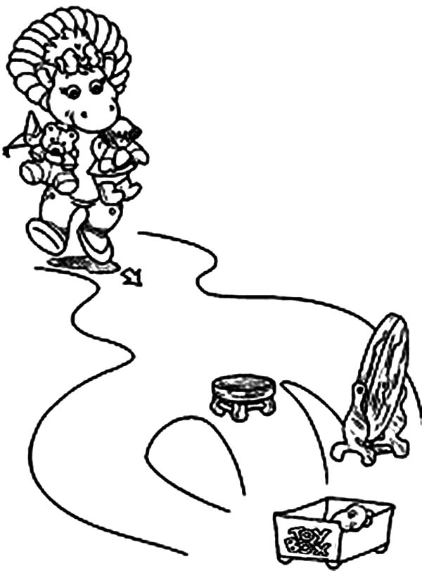 Barney and Friends, : Baby Bop and Her Toys Collection in Barney and Friends Coloring Page