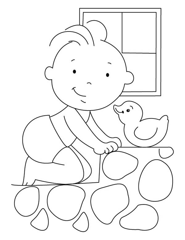 Baby, : Baby Crawling on Stepping Stone Coloring Page