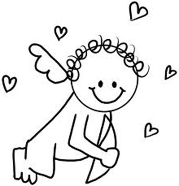 Cupid, : Baby Cupid Has Curly Hair Coloring Page