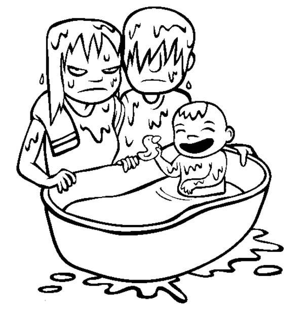 Baby, : Baby Having Fun at Bath TIme Coloring Page