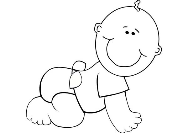 Baby Learn to Crawl Coloring Page | Coloring Sun