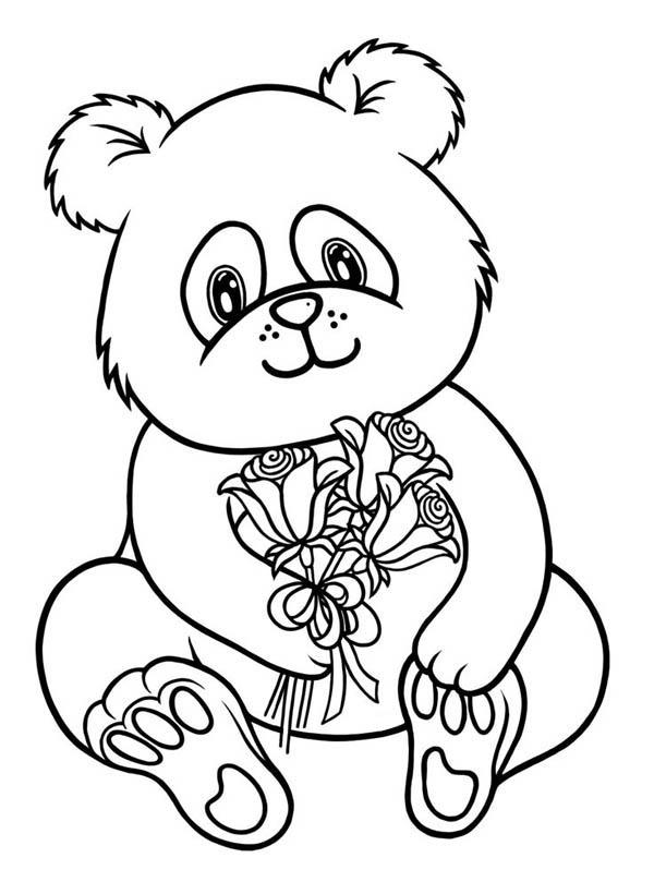 Panda, : Baby Panda Holding Flower Coloring Page