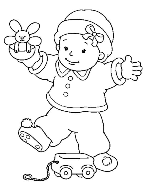 Baby, : Baby Play by Himself Coloring Page