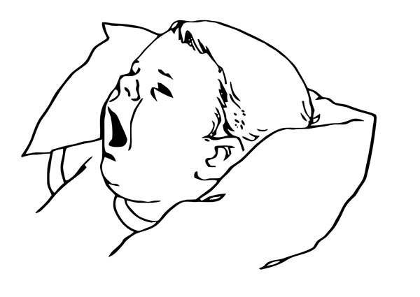 Baby, : Baby Yawning Because He is Sleepy Coloring Page