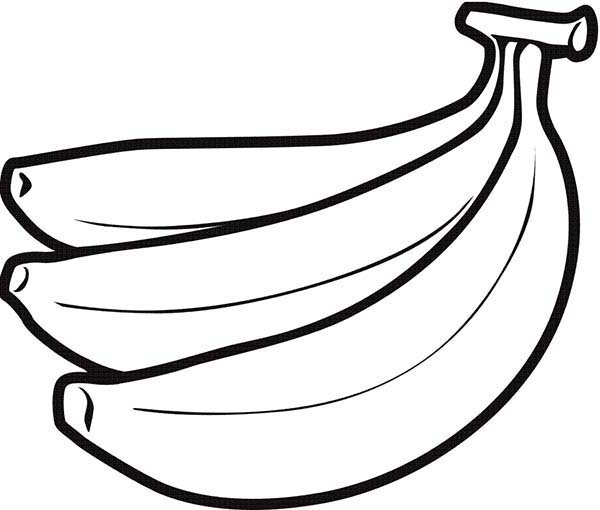 Banana, : Banana Fruit Coloring Page