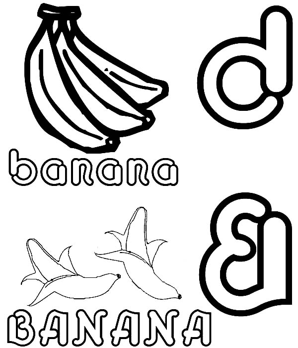Banana, : Banana Picture Coloring Page