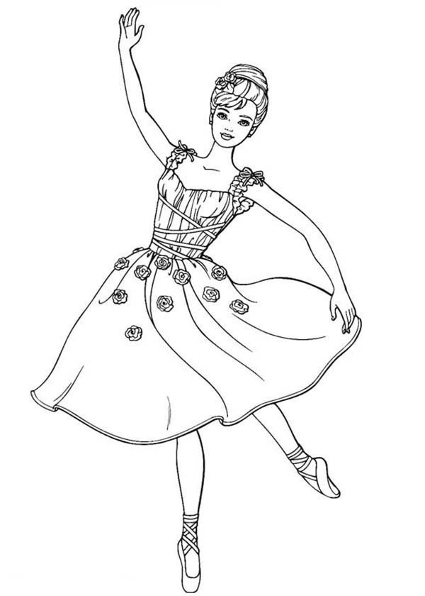 Barbie Doll, : Barbie Doll Dancing Ballet Coloring Page