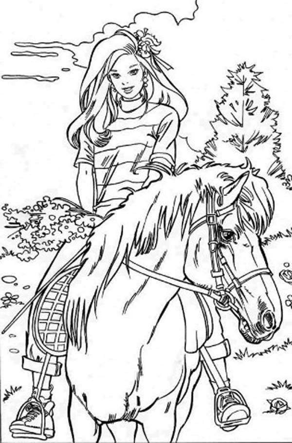 Barbie Doll, : Barbie Doll Riding Horse Coloring Page