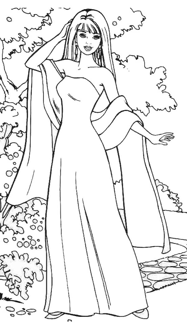 Barbie Doll, : Barbie Doll Wear Gown and Scarf Coloring Page