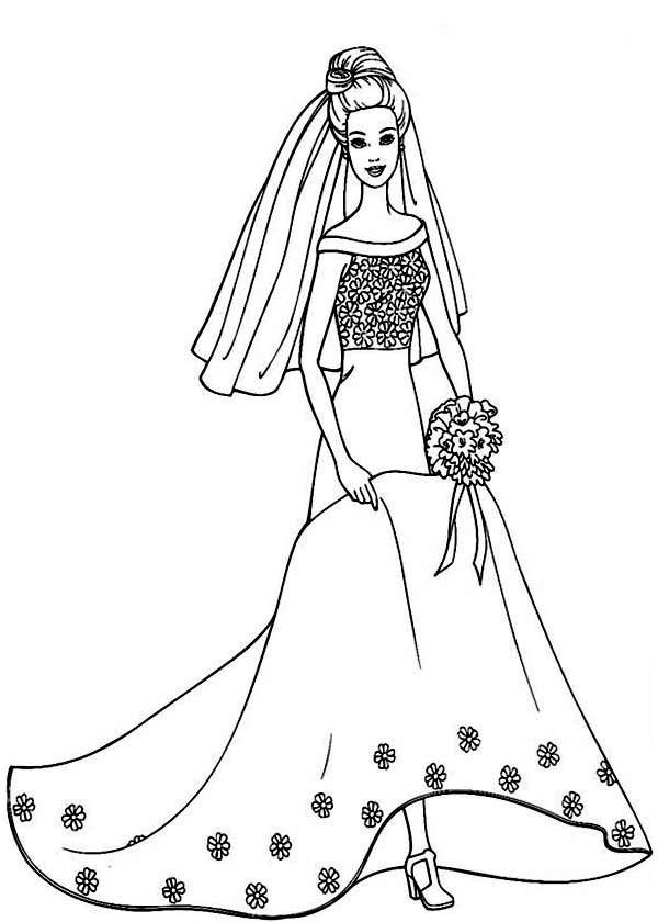 Barbie Doll Wear Wedding Dress Coloring Page