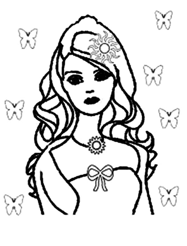 Barbie Doll, : Barbie Doll and Butterfly Coloring Page