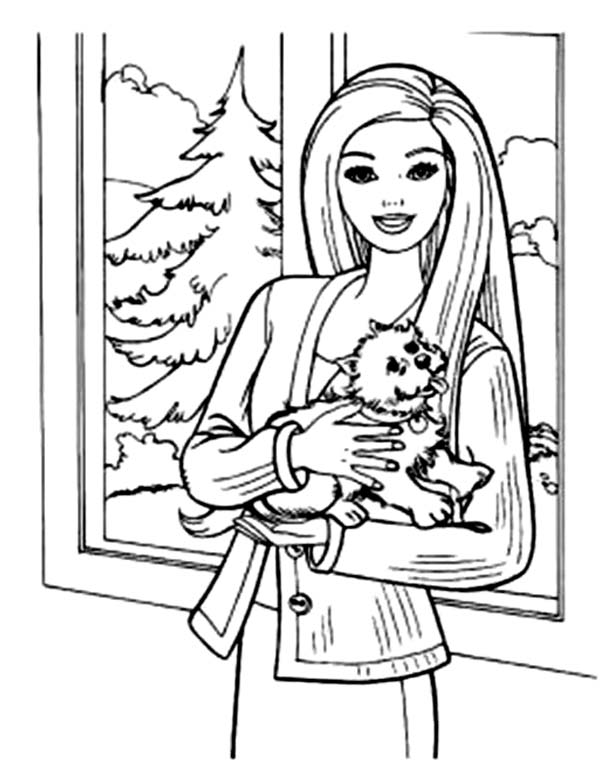 Barbie Doll, : Barbie Doll and Her Pet Dog Coloring Page