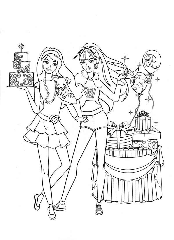 Barbie Doll at Birthday Party Coloring Page | Coloring Sun