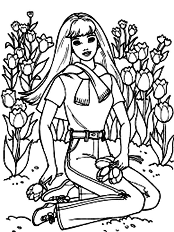 Barbie Doll, : Barbie Doll at Flower Garden Coloring Page