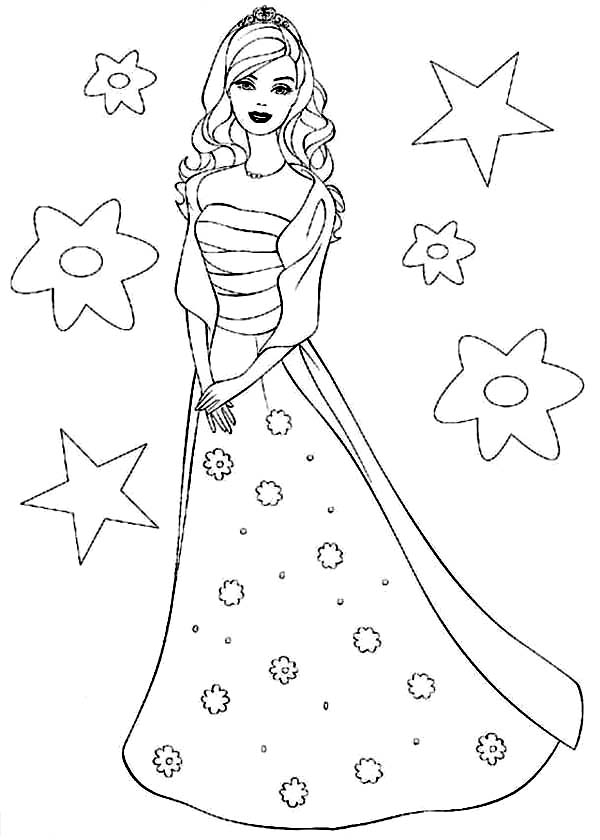 Barbie Doll, : Barbie Doll the Princess Charm School Coloring Page