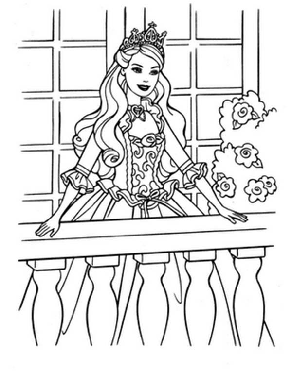Barbie Princess, : Barbie Princess Standing on Terrace Wearing Her Tiara Coloring Page