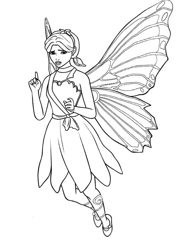 Barbie Princess, : Barbie Princess a Fairy Secret Coloring Page