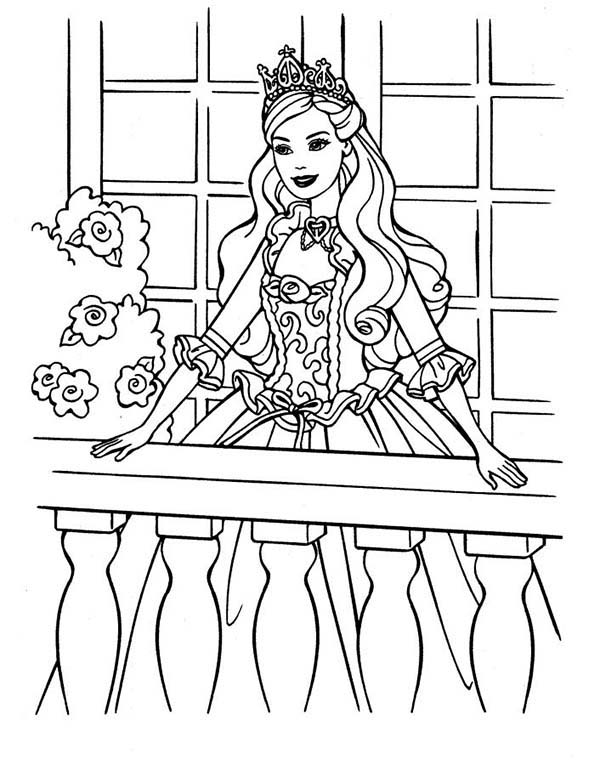 Barbie Princess, : Barbie Princess at Terrace Coloring Page