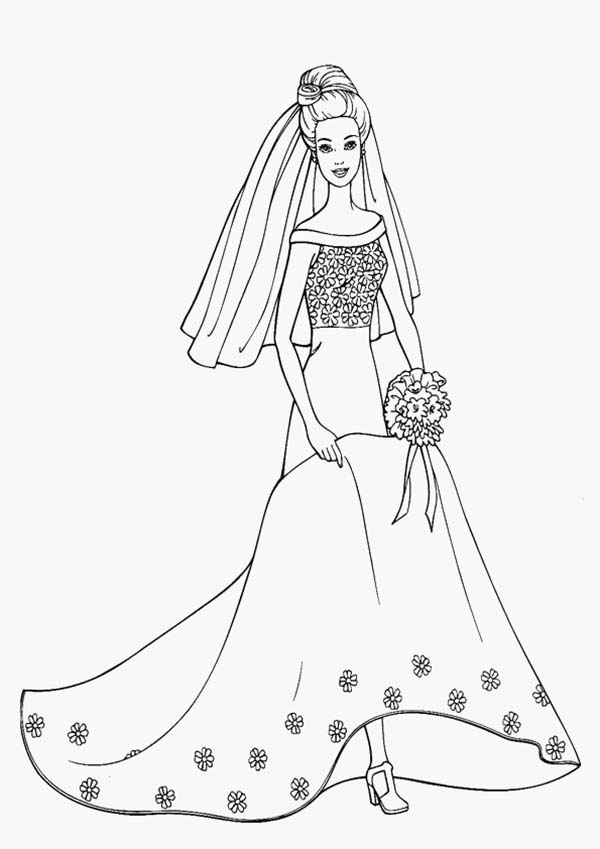 Barbie Princess In Her Wedding Dress Coloring Page