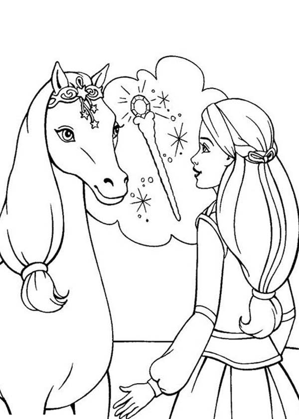 Barbie Princess, : Barbie Princess is Wondering Where Her Magic Wand Coloring Page