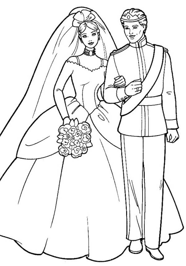 Wedding, : Barbie and Ken in Wedding Ceremony Coloring Page 2