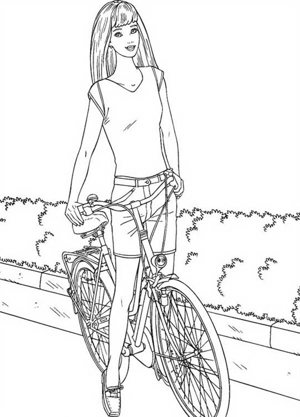 Bicycle, : Barbie with Bicycle Coloring Page