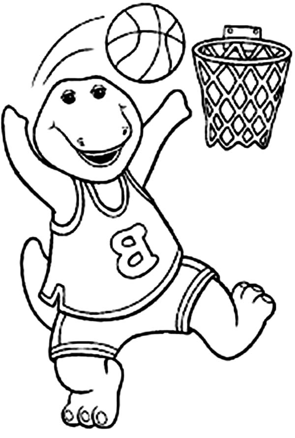 Barney and Friends, : Barney Playing Basketball in Barney and Friends Coloring Page