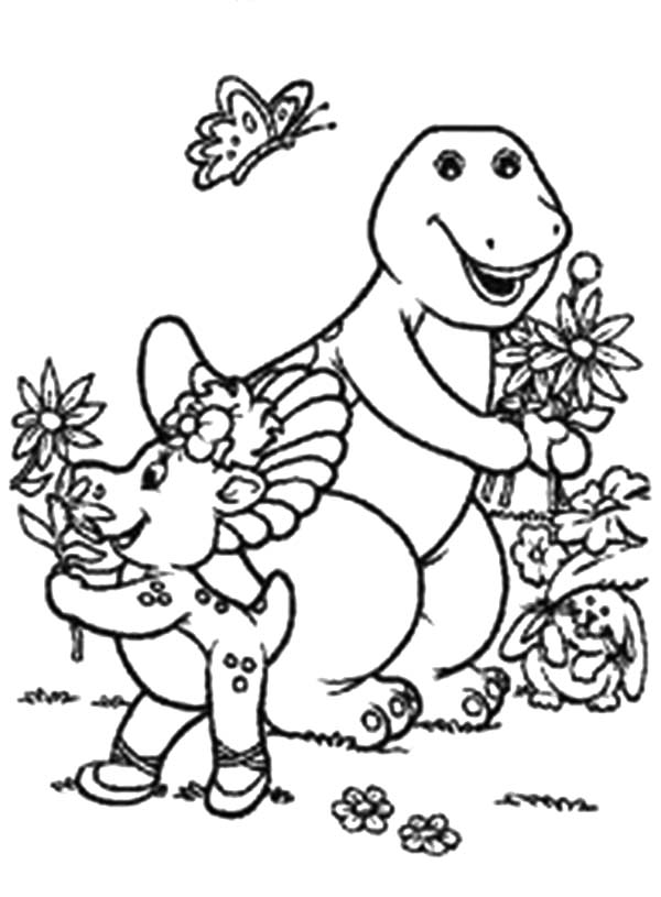 Barney and Friends, : Barney and Baby Bop Picking Flower in Barney and Friends Coloring Page