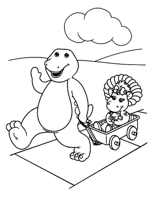 Barney and Baby Bop Playing Cart in Barney and Friends Coloring Page ...