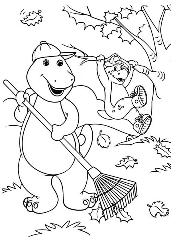 Barney and Friends, : Barney and Friends Cleaning the Garden Coloring Page