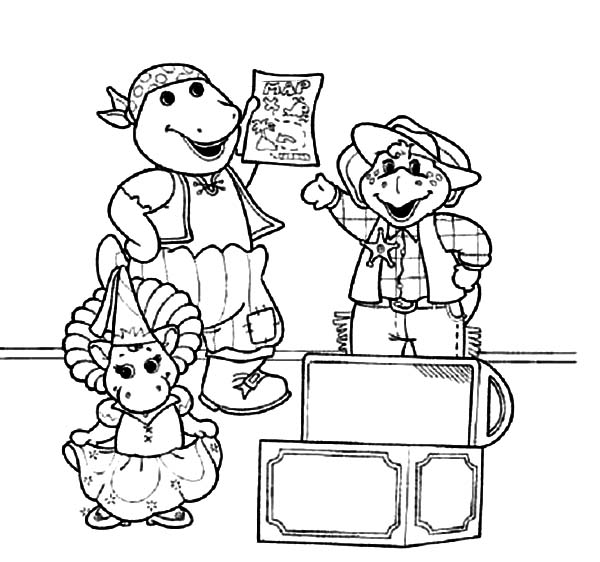 Barney and Friends, : Barney and Friends Playing Pirate Drama Coloring Page