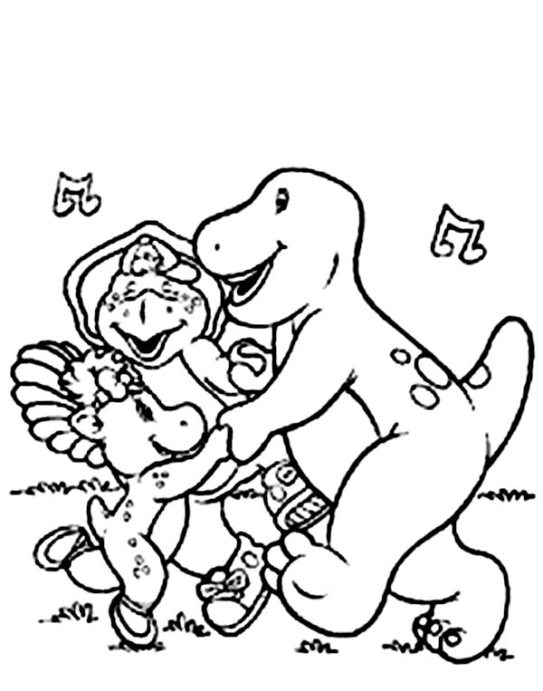Barney and Friends, : Barney and Friends Singing and Dancing Together Coloring Page