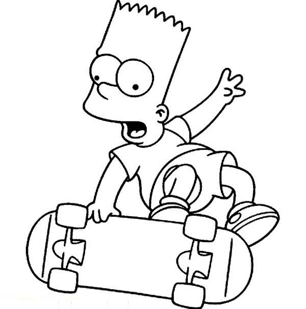 The Simpsons, : Bart Play Skateboard in the Simpsons Coloring Page