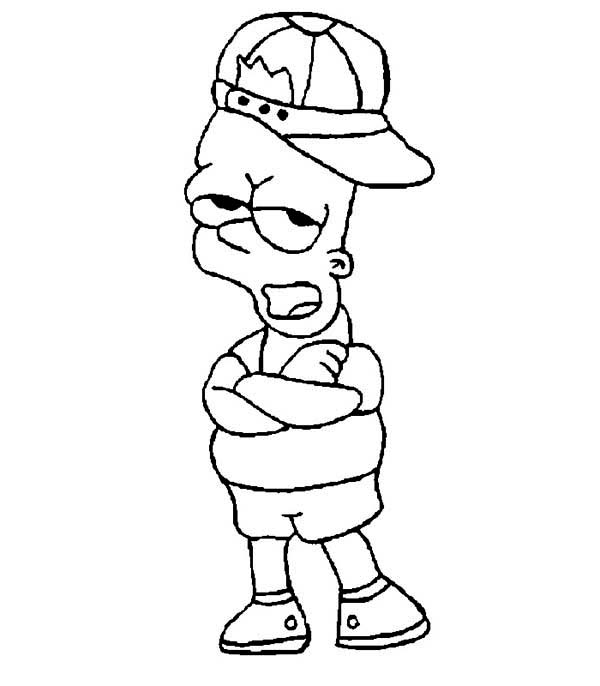 The Simpsons, : Bart Simpson Wearing Hat in the Simpsons Coloring Page
