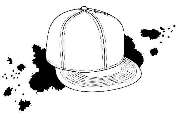 Baseball Cap, : Baseball Cap Image Coloring Page