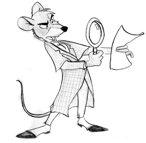 The Great Mouse Detective, : Basil Examine a Piece of Paper in the Great Mouse Detective Coloring Page