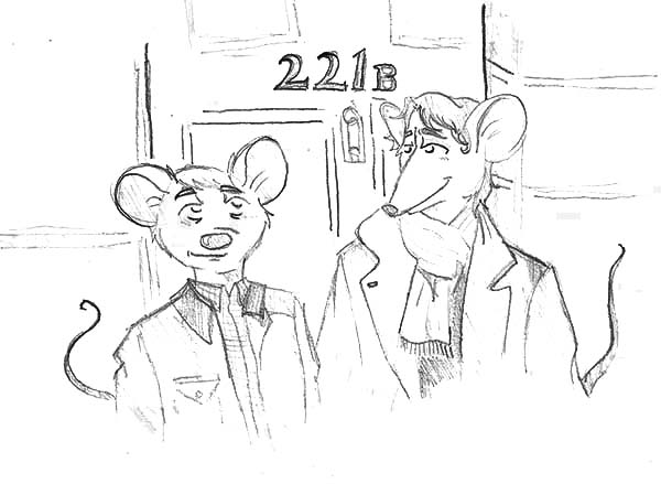 The Great Mouse Detective, : Basil in Front of Hotel Room in the Great Mouse Detective Coloring Page