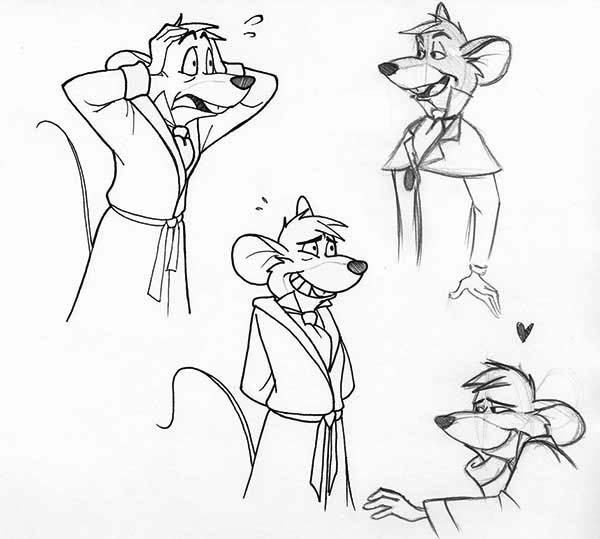 basil of baker street sketch in the great mouse detective coloring page - Baker Coloring Page