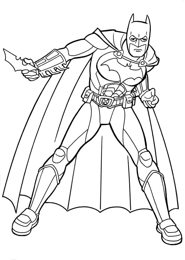 Batman, : Batman and Awesome Equipment Coloring Page