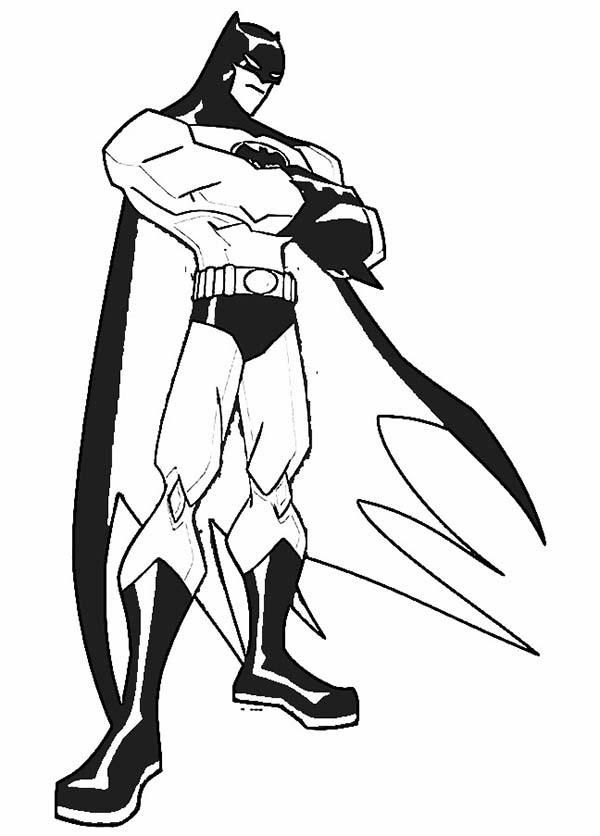 Batman, : Batman is Standing Still Coloring Page