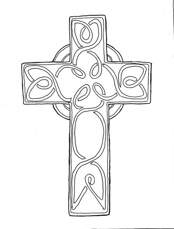 Cross, : Beautiful Catholic Cross Coloring Page