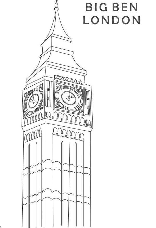 Big Ben, : Beautiful Clock Tower Big Ben Coloring Page