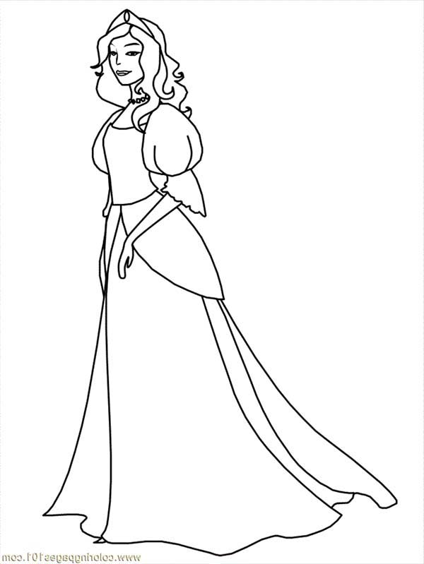 Beautiful Ladies, : Beautiful Ladies Medieval Princess Coloring Page