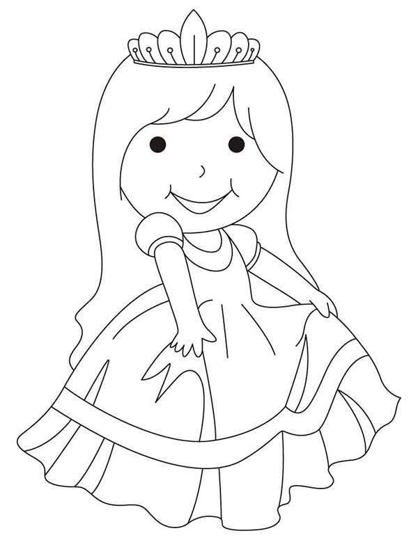 Beautiful Ladies, : Beautiful Ladies Wearing Frocks Coloring Page